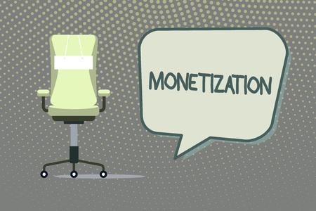 Writing note showing Monetization. Business photo showcasing Process of converting establishing something into legal tender. Stock Photo