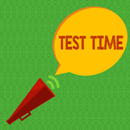 Writing note showing Test Time. Business photo showcasing Moment to take an examination Grade knowledge lesson learned.