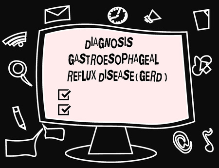 Text sign showing Diagnosis Gastroesophageal Reflux Disease Gerd . Conceptual photo Digestive disorder. Zdjęcie Seryjne - 111307595