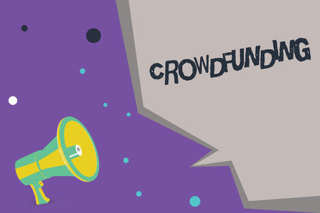 Text sign showing Crowdfunding. Conceptual photo Funding a project by raising money from large number of showing.