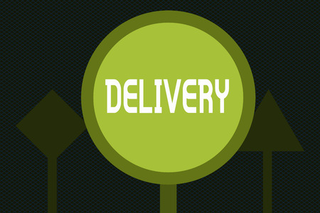 Writing note showing Delivery. Business photo showcasing action of delivering letters parcels or goods Giving birth. Stok Fotoğraf - 111309995