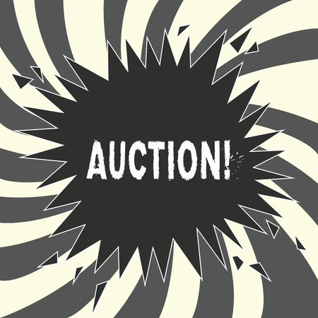 Conceptual hand writing showing Auction. Business photo showcasing Public sale Goods or Property sold to highest bidder Purchase.