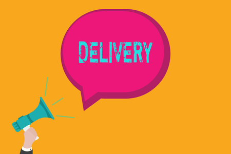 Handwriting text writing Delivery. Concept meaning action of delivering letters parcels or goods Giving birth.