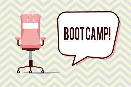 Text sign showing Boot Camp. Conceptual photo Military training camp for new recruits Harsh discipline Fitness.
