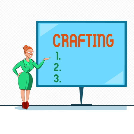 Writing note showing Crafting. Business photo showcasing activity or hobby of making decorative articles by hand using tools. Stock Photo