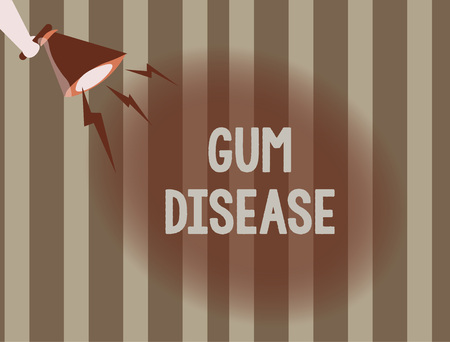 Text sign showing Gum Disease. Conceptual photo Inflammation of the soft tissue Gingivitis Periodontitis. Banque d'images