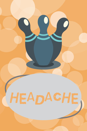 Text sign showing Headache. Conceptual photo Continuous pain in the head Sign of stress and emotional distress. Stock Photo