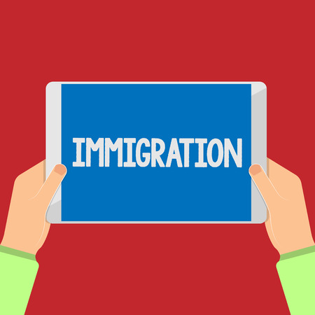 Writing note showing Immigration. Business photo showcasing Action of coming to live peranalysisently in a foreign country.. Stock Photo
