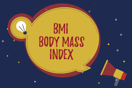 Word writing text Bmi Body Mass Index. Business concept for body fat based on weight and weight measurement.