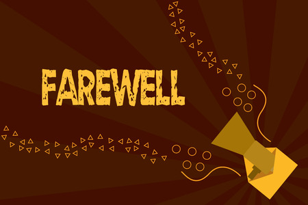 Text sign showing Farewell. Conceptual photo used to express good wishes on parting marking someones departure. Banque d'images