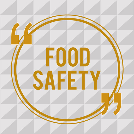 Handwriting text Food Safety. Concept meaning Conditions and practices that preserve the quality of food.