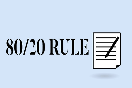Handwriting text writing 80 20 Rule. Concept meaning Pareto principle 80 percent effects come from 20 causes. Stock Photo