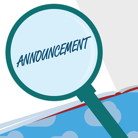 Text sign showing Announcement. Conceptual photo Formal public statement about a fact occurrence or intention. Stock Photo