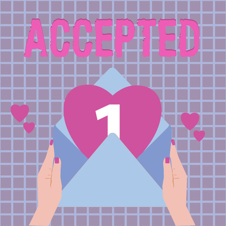 Text sign showing Accepted. Conceptual photo Agree to do or give something Approval Permission Confirmation. Stockfoto - 111331996