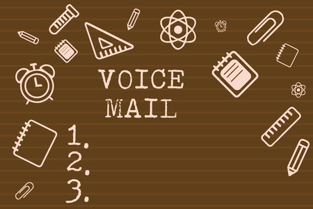 Writing note showing Voice Mail. Business photo showcasing Electronic system that store messages from telephone callers.