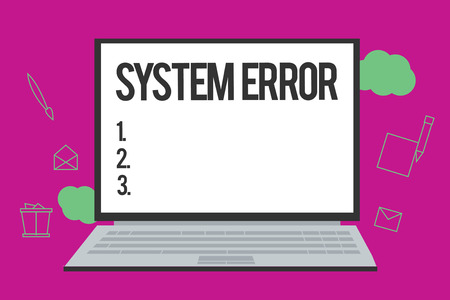 Conceptual hand writing showing System Error. Business photo text Technological failure Software collapse crash Information loss.