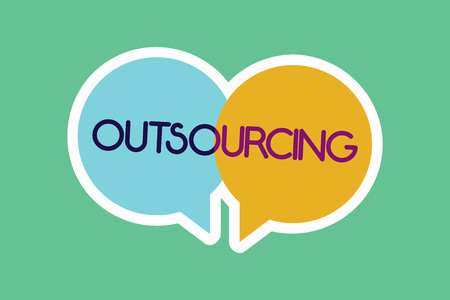 Conceptual hand writing showing Outsourcing. Business photo showcasing Obtain goods or service by contract from an outside supplier. Banque d'images