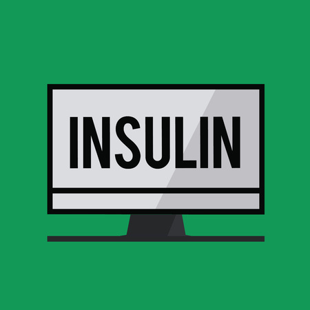 Writing note showing Insulin. Business photo showcasing Protein pancreatic hormone Regulates the glucose in the blood. Banco de Imagens - 111333820