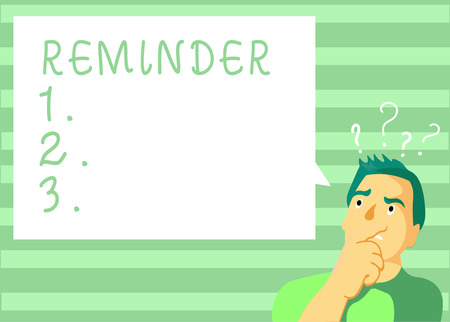 Writing note showing Reminder. Business photo showcasing thing that causes someone to remember something event or date.