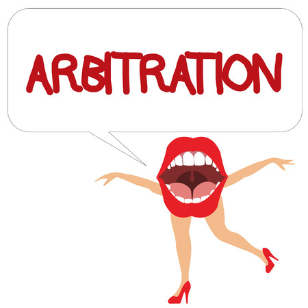 Word writing text Arbitration. Business concept for Use of an arbitrator to settle a dispute Mediation Negotiation.
