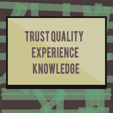 Writing note showing Trust Quality Experience Knowledge. Business photo showcasing Customer quality service and satisfaction. 스톡 콘텐츠