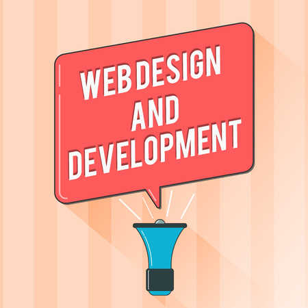 Text sign showing Web Design And Development. Conceptual photo skills in Production and Maintenance of Websites.
