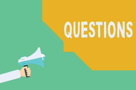 Conceptual hand writing showing Questions. Business photo showcasing Interrogative expression Requesting answers Asking for solutions. Stock Photo
