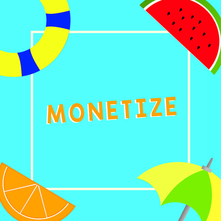 Conceptual hand writing showing Monetize. Business photo text convert into or express in form of currency earn revenue from asset.