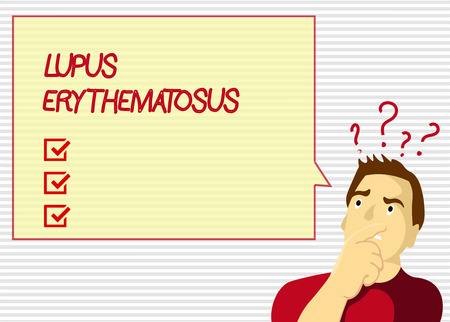 Handwriting text Lupus Erythematosus. Concept meaning inflammatory condition caused by an autoimmune disease.