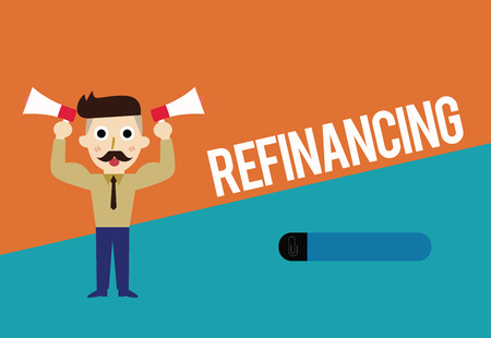 Text sign showing Refinancing. Conceptual photo Finance again with new loans at a lower rate of interest.