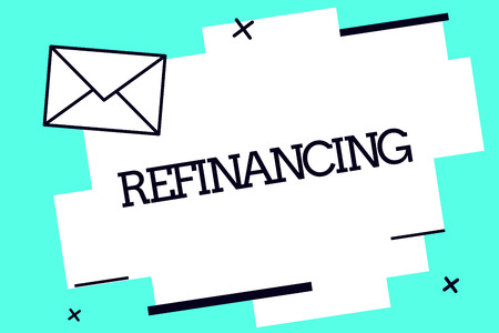 Handwriting text Refinancing. Concept meaning Finance again with new loans at a lower rate of interest. Archivio Fotografico