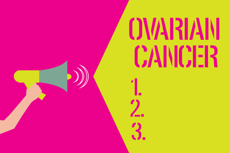 Word writing text Ovarian Cancer. Business concept for abnormal cells in the ovary begin to multiply out of control.