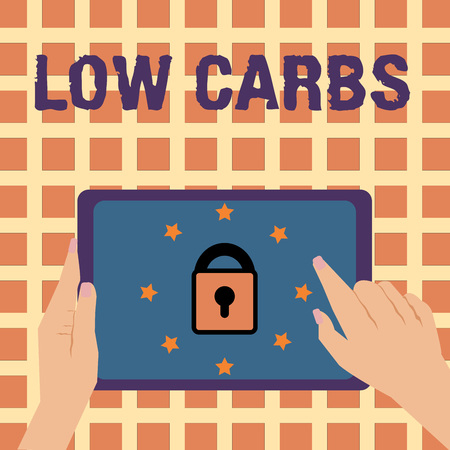 Writing note showing Low Carbs. Business photo showcasing Restrict carbohydrate consumption Weight loss analysisagement diet.