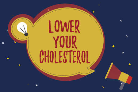 Word writing text Lower Your Cholesterol. Business concept for Reduce the intake of fatty foods Do regular exercise.