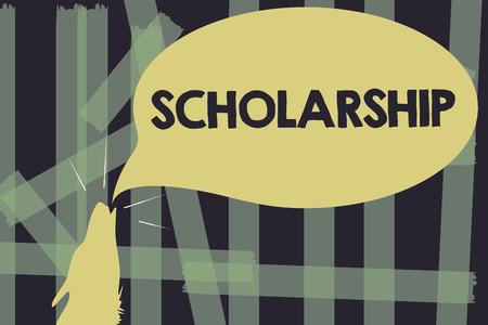 Escribir nota mostrando beca. Foto de negocios que muestra la subvención o el pago realizado para apoyar el estudio académico de la educación.