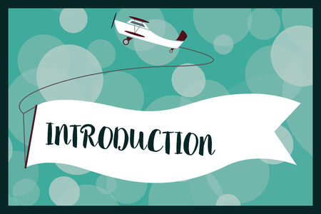 Text sign showing Introduction. Conceptual photo first part of a document formal presentation to an audience. Stockfoto