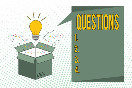 Writing note showing Questions. Business photo showcasing Interrogative expression Requesting answers Asking for solutions.