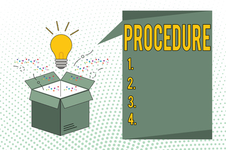 Writing note showing Procedure. Business photo showcasing Established official way of doing something Rules Guidelines.