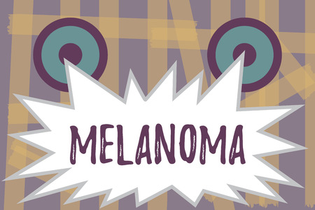 Writing note showing Melanoma. Business photo showcasing a malignant tumor associated with skin cancer benign moles.