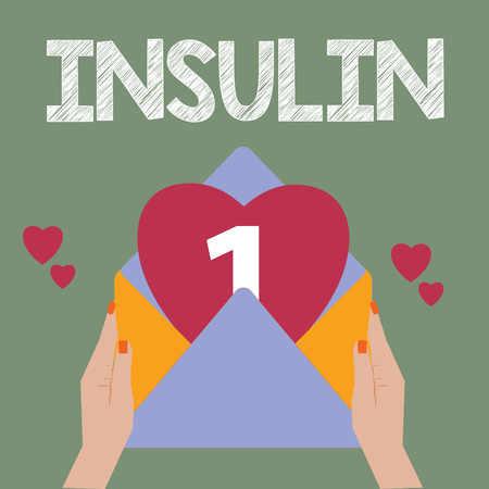 Conceptual hand writing showing Insulin. Business photo text Protein pancreatic hormone Regulates the glucose in the blood. Banco de Imagens - 111416828