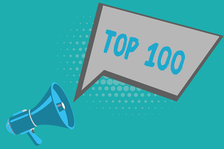 Writing note showing Top 100. Business photo showcasing List of best products services Popular Bestseller Premium high rate.
