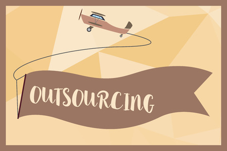 Writing note showing Outsourcing. Business photo showcasing Obtain goods or service by contract from an outside supplier. Banque d'images