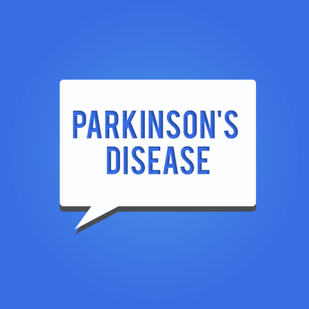 Word writing text Parkinson s is Disease. Business concept for nervous system disorder that affects movement.