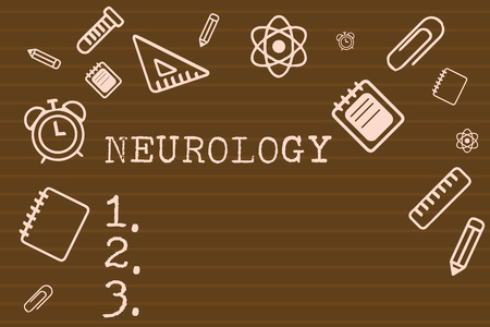Writing note showing Neurology. Business photo showcasing Branch of medicine dealing with disorders of the nervous system. Stock Photo