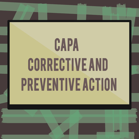 Writing note showing Capa Corrective And Preventive Action. Business photo showcasing Elimination of nonconformities. Stok Fotoğraf