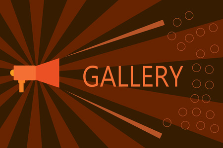 Handwriting text writing Gallery. Concept meaning Room Building Display Sale works of art Exhibition Museum wall. Stock Photo