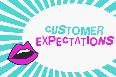 Writing note showing Customer Expectations. Business photo showcasing Benefits a Client Expect Surpass the needs and wants. Stok Fotoğraf