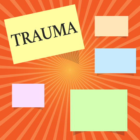 Text sign showing Trauma. Conceptual photo deeply distressing or disturbing experience Physical injury. Archivio Fotografico