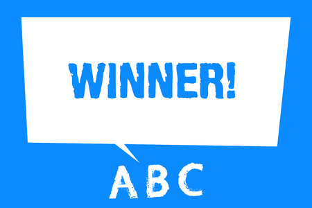 Text sign showing Winner. Conceptual photo Person or thing that wins something Goal reached Achievement. Stock Photo