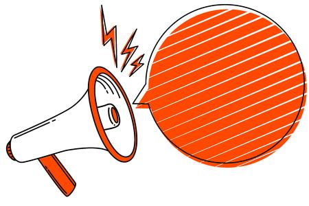 Flaches Design-Geschäftsillustrationskonzept Digitales Marketinggeschäft, das Megaphon für Website- und Werbebanner hält. Menschliche Hand der Karikatur, die Megaphon hält. Social-Media-Konzept